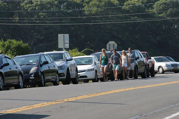 Patrons walk to The Surf Lodge in Montauk last summer. KYRIL BROMLEY