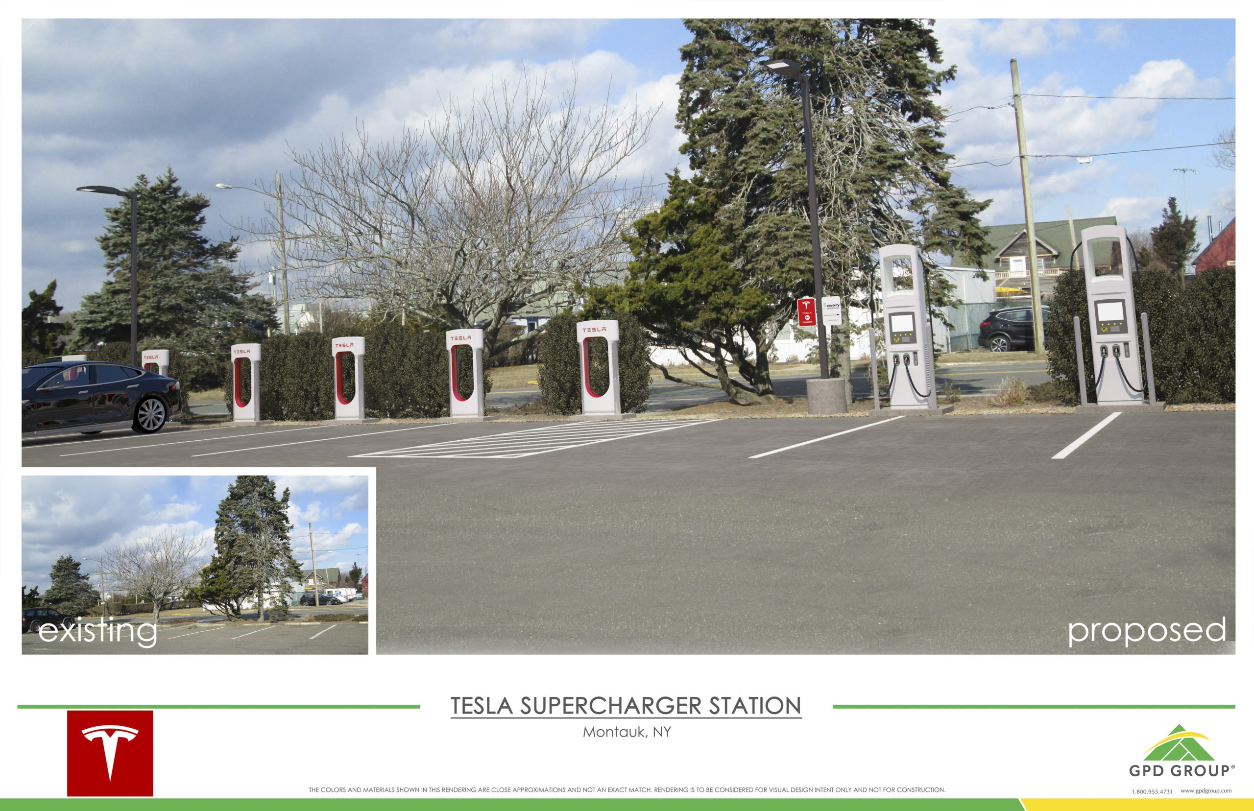 Renderings of the proposed charging stations that Tesla and Electrify America have proposed installing in Montauk.