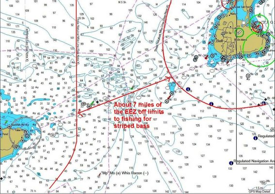 This chart shows the outlines of the Block Island Transit Zone