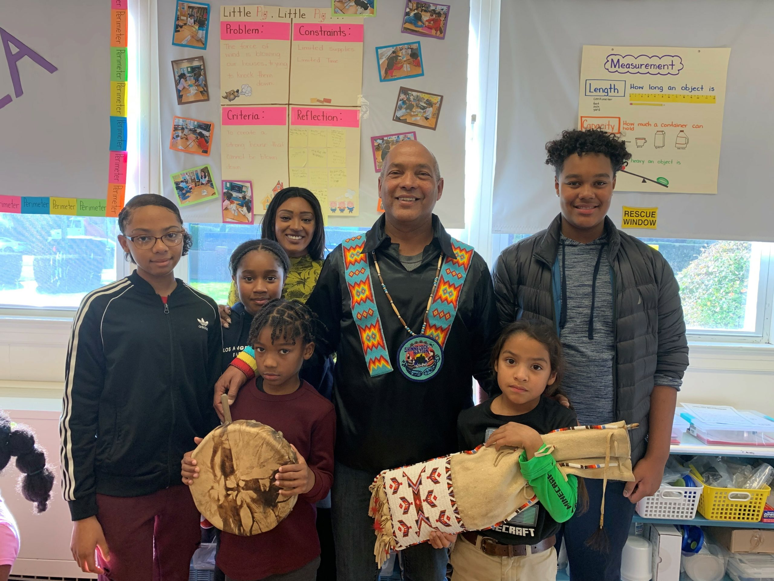 On Thursday, November 21, members of the Shinnecock Nation offered a presentation to third-graders in honor of Native American Heritage month.The presentation included the sharing of Native American folktales, beliefs, traditions, and food. Students sampled homemade fry bread and watched the performance of a Native American song.