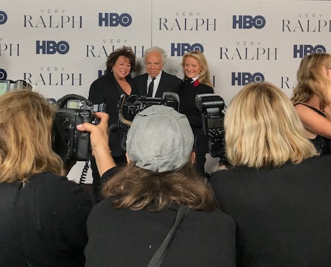 Susan Lacy, left, with Ralph Lauren and Ricky Lauren on the red carpet at the