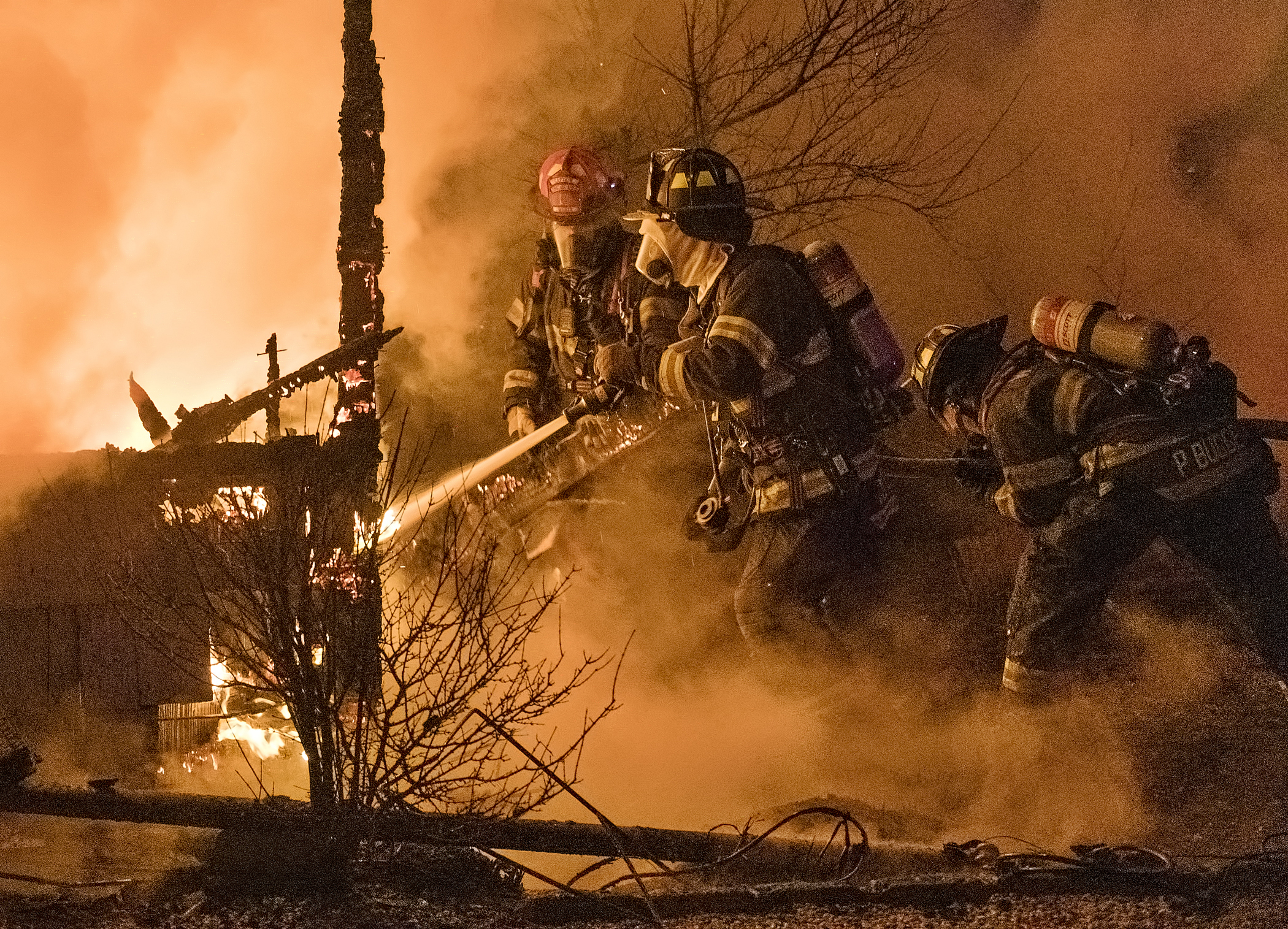 Hot And Cold February 14 -- Firefighters battled a fire in frigid conditions at an unoccupied house on Dune Road in Westhampton during the early morning hours on Sunday. According to a press release from the Westhampton Beach Fire Department, crews were dispatched to the scene at 5:59 a.m. and, upon arrival, found a small house fully engulfed in flames. First Assistant Chief Mauro DiBenedetto said the home was located on Dune Road between Westhampton Beach and West Hampton Dunes, in unincorporated Westhampton. Once the first engine arrived, the flames were knocked down within 20 minutes, and the crews spent another 20 minutes extinguishing another fire in a chimney area. Firefighters spent additional time inspecting the house for any other hidden pockets of fire within the walls or ceilings.