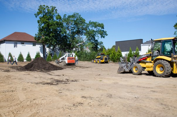 Dragonfly Landscape Design Ltd. along with the Department of Public Works begins working on the implementation of Glovers Park in the Village of Westhampton Beach.   GREG WEHNER