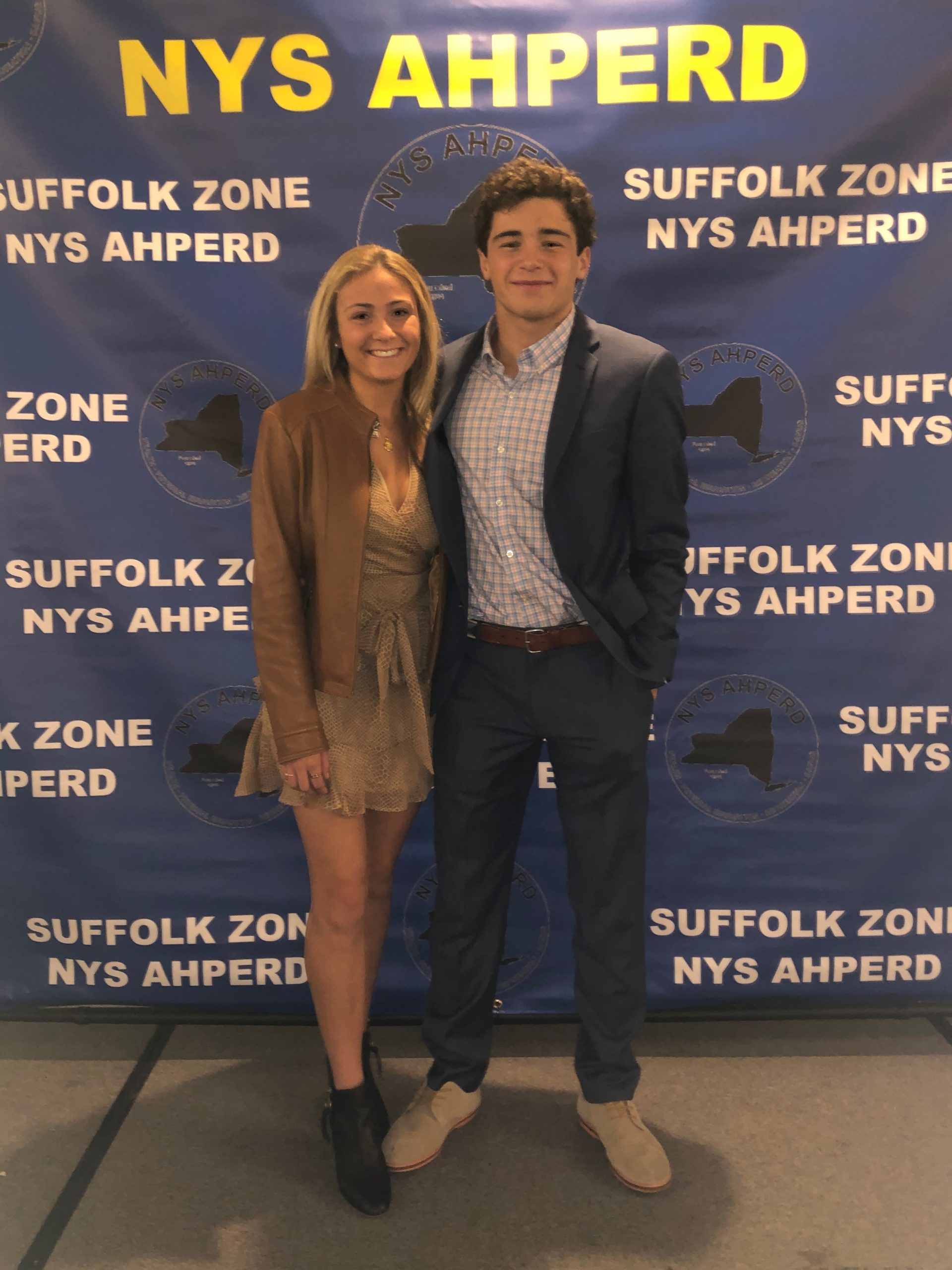 Westhampton Beach High School seniors Isabelle Smith and Jack Naglieri were honored by the New York State Association for Health, Physical Education, Recreation and Dance on December 3 as winners of the Suffolk Zone Student Leadership Award. The pair were selected based on their excellence in physical education, leadership ability and service to the community.