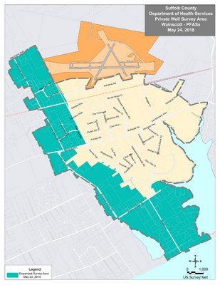 The latest expansion of the well testing area is shown in green.    COURTESY SUFFOLK COUNTY HEALTH DEPARTMENT