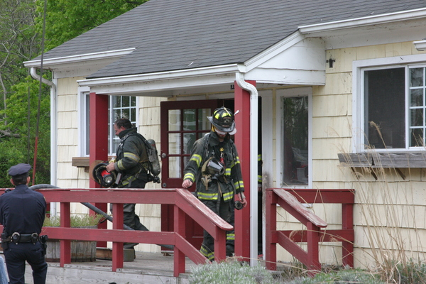A minor fire was extinguished at an abandoned restaurant in Bridgehampton on Sunday. MICHAEL WRIGHT