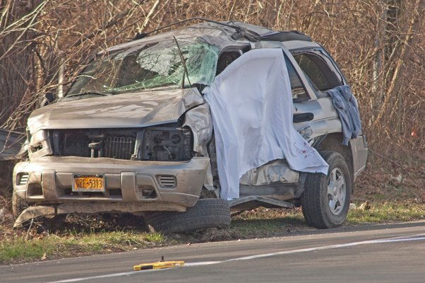A vehicle and a transit bus were involved in an accident early Friday morning in Bridgehampton.  DANA SHAW