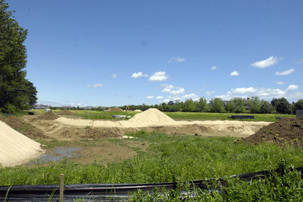 A new horse farm under construction on Newlight Lane near Bridgehampton.