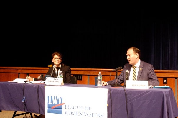 Democratic candidate Anna Throne-Holst at the debate on Thursday