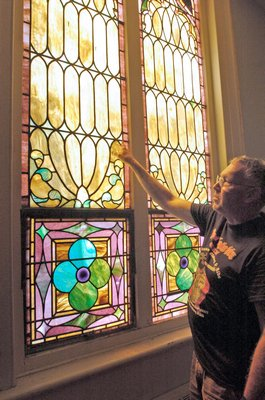 A stained glass window at the Bridgehampton Presbyterian Church.  DANA SHAW