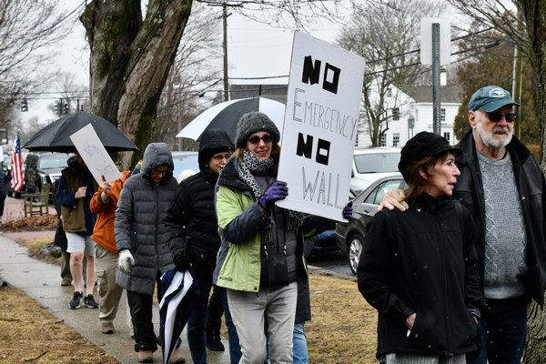 Protesters in Bridgehampton on Monday afternoon.  DANA SHAW