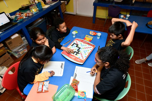 Members Bridgehampton Child Care & Recreational Center Scrabble team prepare for the North American School Scrabble Championship in Philadelphia later this month. DANA SHAW