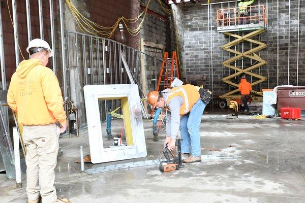 The first floor of the Sag Harbor Cinema Arts Center under construction.    DANA SHAW