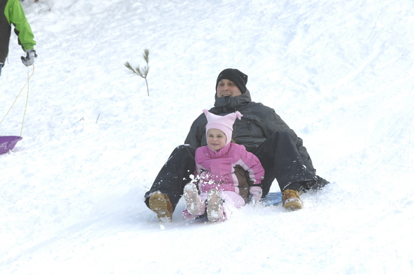 Sledding in Hampton Bays on Wednesday afternoon.