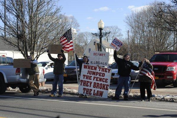 of Hampton Bays protests on Thursday afternoon. AMANDA BERNOCCO