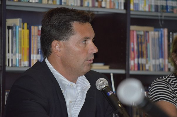 Southampton Superintendent Dr. Scott Farina at the Board of Education meeting on Tuesday night. BY ERIN MCKINLEY