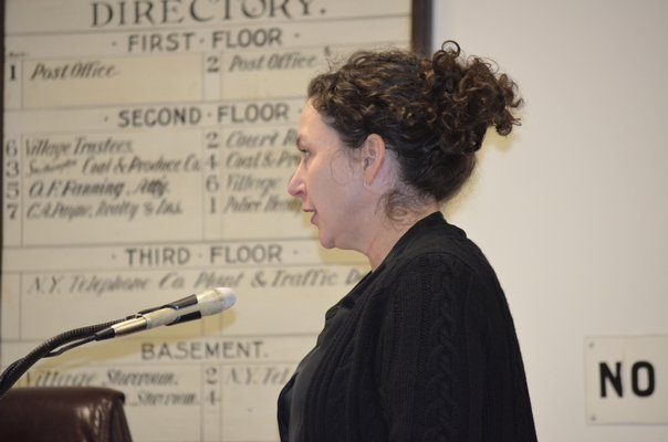 Southampton Center Director Michele Thompson at the village meeting on Tuesday night. BY ERIN MCKINLEY