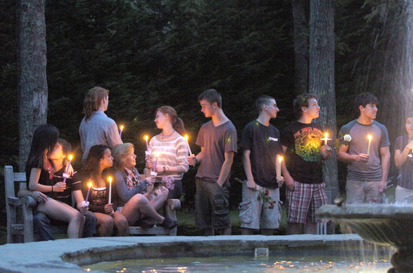 A candlelight vigil was held on the East Quogue Village Green on Monday night for Cameron Nicholls of Quiogue who was killed in a car accident on Sunday night.