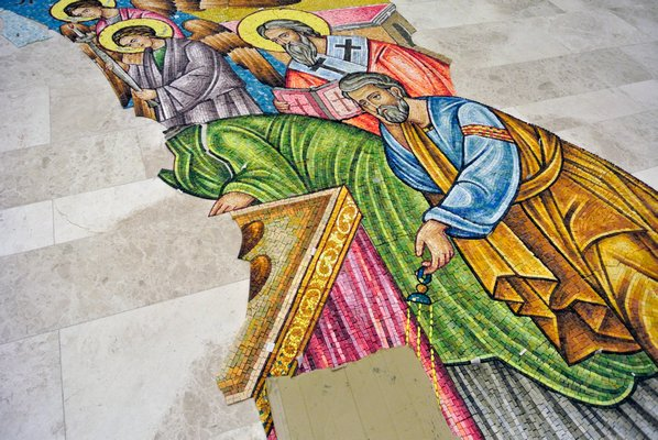 The mosaic is laid out on the Dormition of the Virgin Mary Greek Orthodox Church of the Hamptons as it will go up on the buidling.