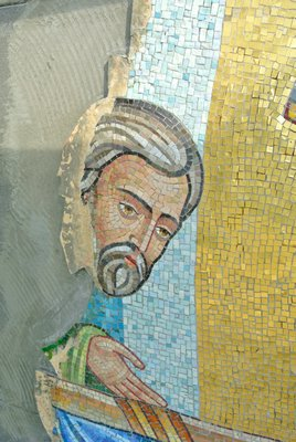 Work on the mosaic at the Dormition of the Virgin Mary Greek Orthodox Church of the Hamptons.