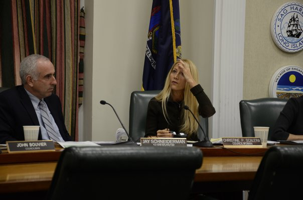 Town Board member Christine Scalera debated with the rest of the Town Board about the need to hold a public hearing to use Community Preservation Fund money to purchase the Bel-Aire Cove Motel in Hampton Bays