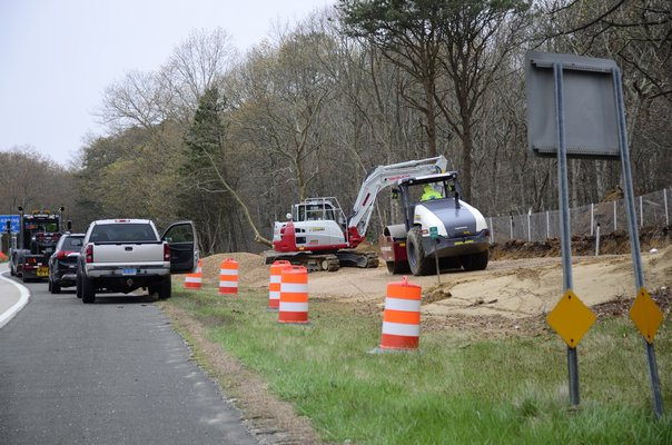 Contractors were seen preparing land along Sunrise Highway for two billboards for the Shinnecock Tribe. GREG WEHNER