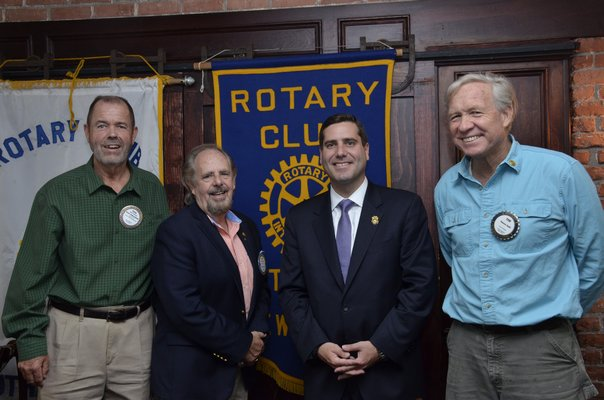 Southampton Rotary Club hosted Suffolk County Police Commissioner Timothy Sini at their weekly meeting on Thursday. Left to right: Paul Conroy