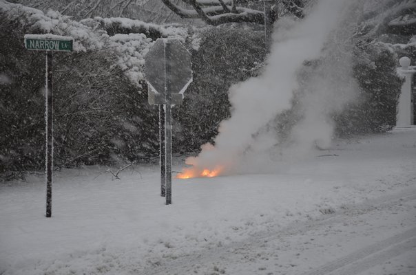 Downed wires were seen around Wickapogue Road on Tuesday morning. GREG WEHNER