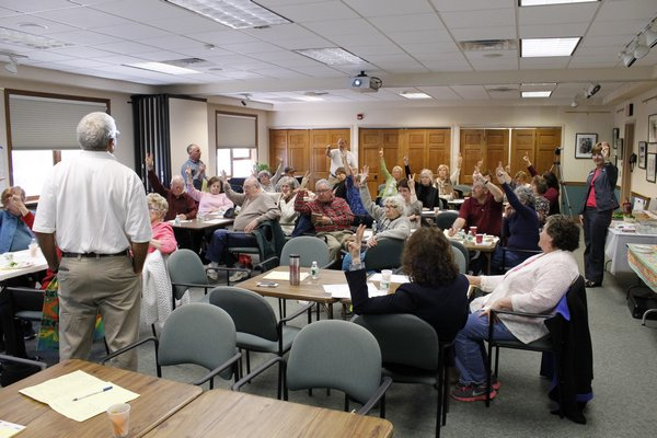 A group of 33 community members discussed improvements they'd like to see made to the Hampton Bays Public Library KYLE CAMPBELL