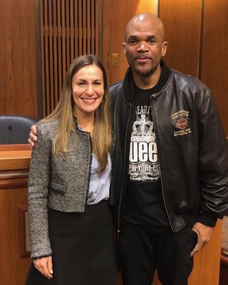 Sponsor of unsealing adoption records Senator Alessandra Biaggi and Darryl McDaniels of Run DMC at the Albany meeting.   COURTESY NEW YORK STATE ADOPTEE EQUALITY