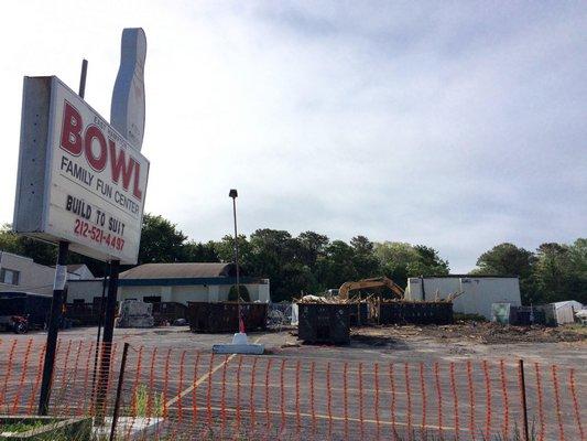 East Hampton Bowl was being torn down last week. LAURA WEIR