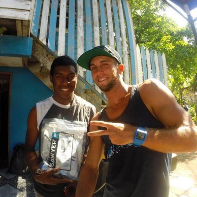 an initiative that gets local surfers to bring water filters with them in their luggage while they are looking for good waves in third-world countries. Courtesy James McMahon