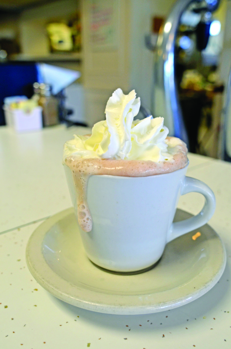 Hot chocolate at Candy Kitchen in Bridgehampton. KIM COVELL