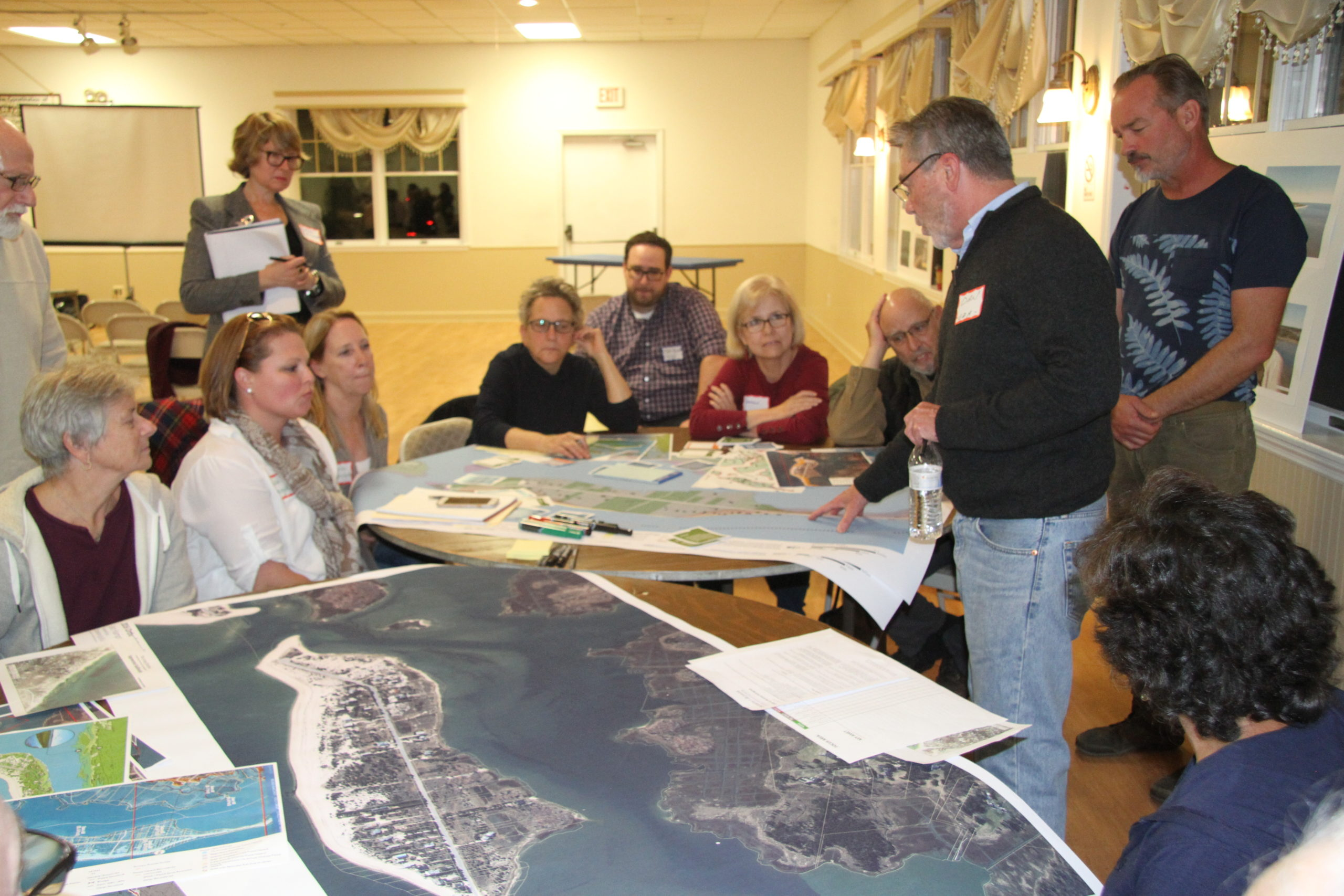 Consultants and residents pored over areas of the town that already face chronic flooding and erosion problems at a work shop in October at the Amagansett American Legion.