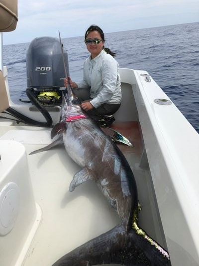 Bryce and Lisa Poyer of White Water Outfitters trailered their 23-foot Parker to the Florida Keys and decked this nice swordfish while on vacation this week. Bryce Poyer