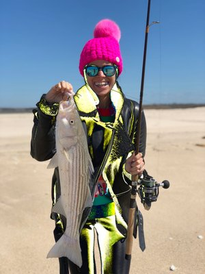 Jess Spitzer got the striped bass season started off in style with this nice schoolie from the beach in Bridgehampton over the weekend.  Stephen Lobosco