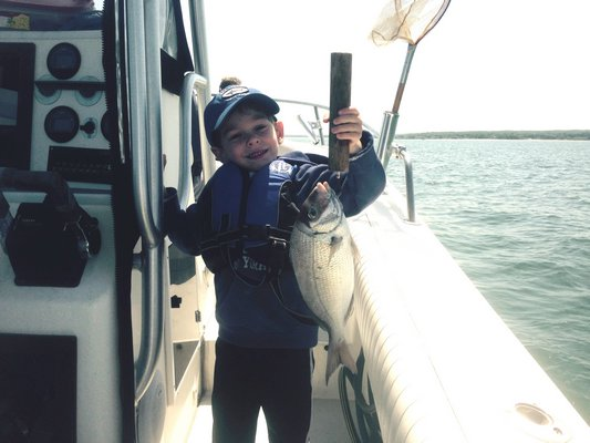 Matthew Dehler with a nice Jessups Neck porgy caught last week. Kevin Dehler