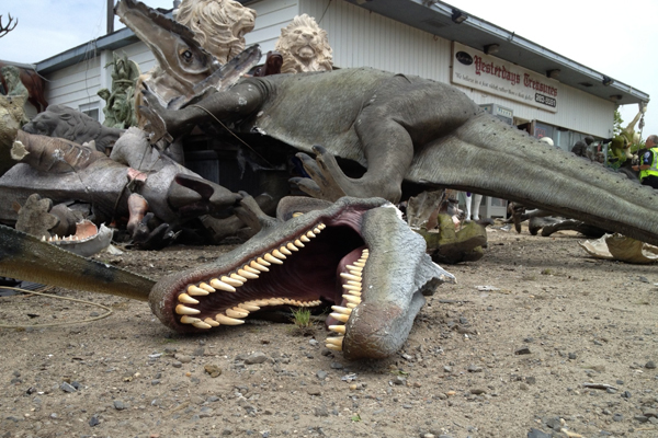 A car crashed into a series of model dinosaurs in Southampton on Tuesday afternoon.