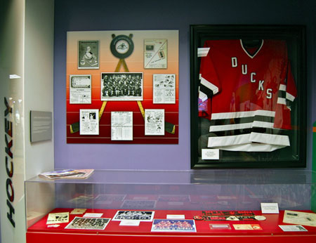 which opened October 25. An enlarged image of former Islander forward Clark Gillies appears in the background. JAMES HAAG
