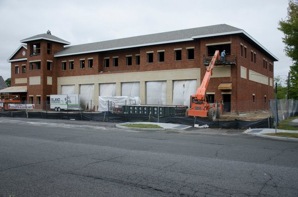 The new Westhampton Beach firehouse is being constructed on Sunset Avenue where the old firehouse stood