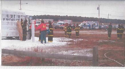 A drill from the 1980s at which a fire suppressant foam was sprayed during a plane crash simulation.  Courtesy New York State Department of Environmental Conservation