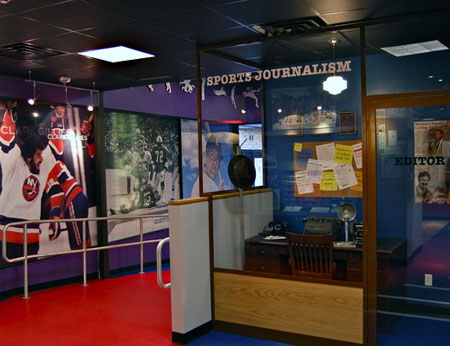 which opened October 25. The room includes memorabilia from the now-defunct Ducks hockey team