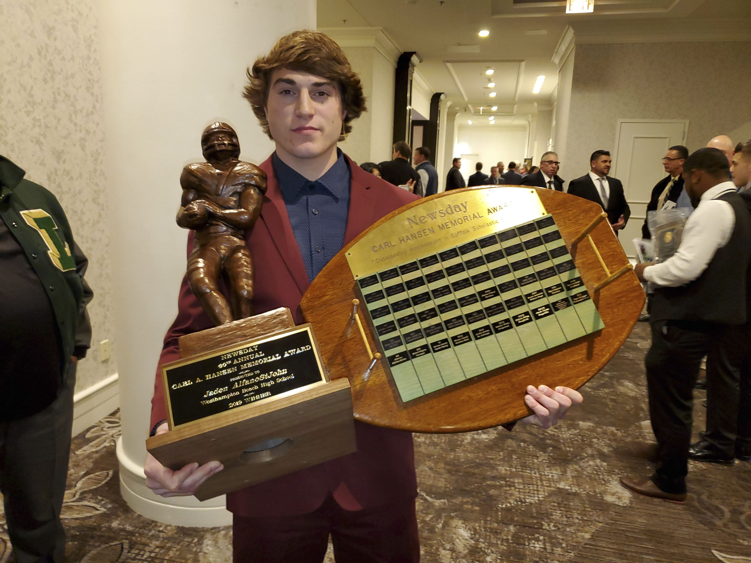Jaden AlfanoStJohn was the 60th recipient, and third consecutive Hurricane, of the Carl A. Hansen Award, given to the best overall football player in Suffolk County.