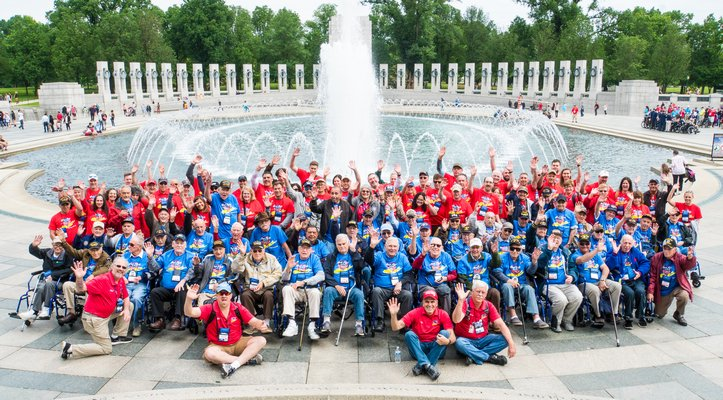 All of the veterans and guardian angels who participated in the Honor Flight. COURTESY CONCIERGE PHOTOGRAPHY
