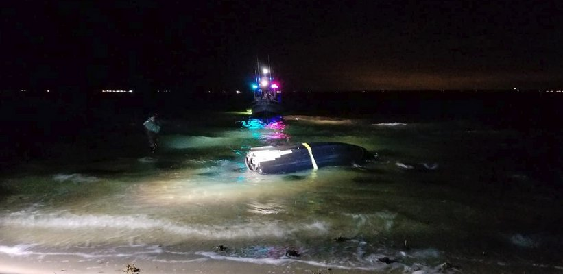 A personal watercraft capsized near the Shinnecock Reservation on Monday night