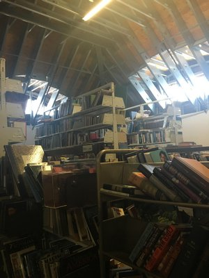 Part of the storage space to be renovated in the Westhampton Free Library. BY ERIN MCKINLEY