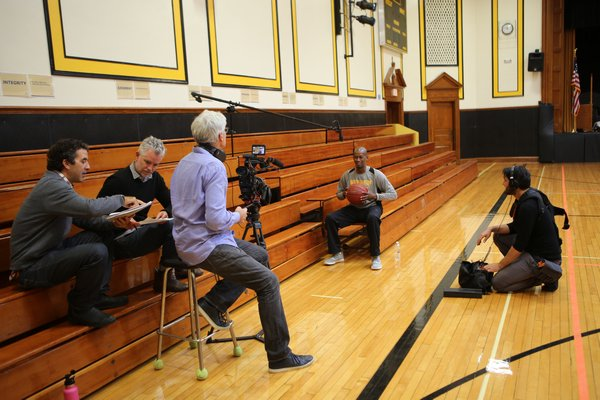 Longtime Bridgehampton boys hoops coach Carl Johnson was prominently featured in the Killer Bees documentary. HILARY MCHONE