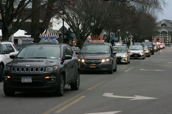 The procession of cars in the