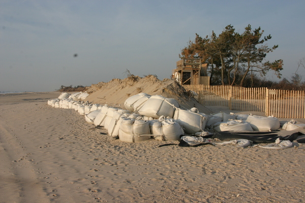 The sandbags and sand berm that failed to hold back Hurricane Sandy