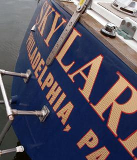 The 36 foot Pierson sloop is named Skylark.